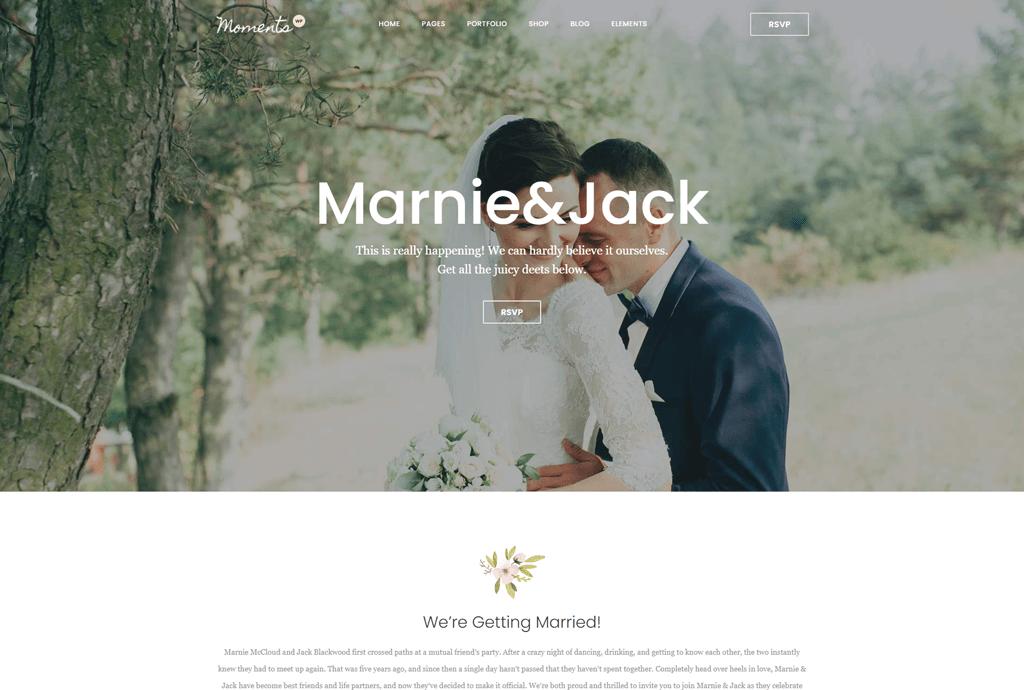 Moments - Wedding photography WordPress theme