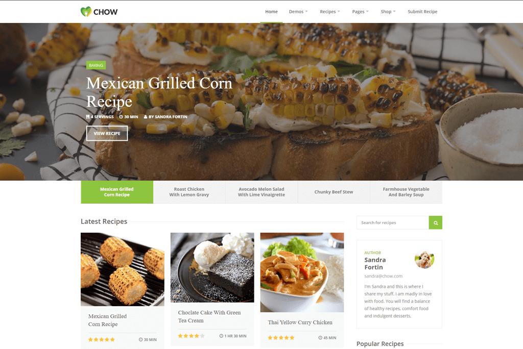 Chow - recipe website templates