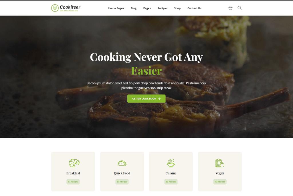 Cookiteer - cookbook website template