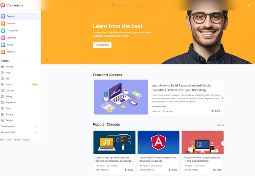 CoursePlus - e learning website template bootstrap