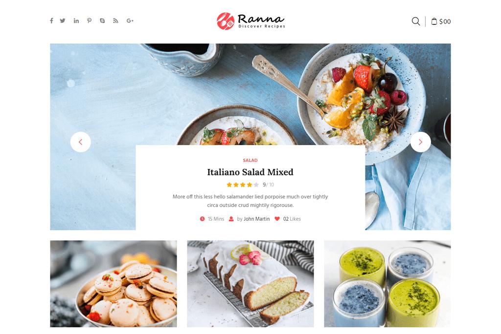 Ranna - food recipes website template