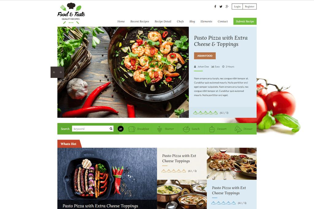 RecipePress - recipes website templates html