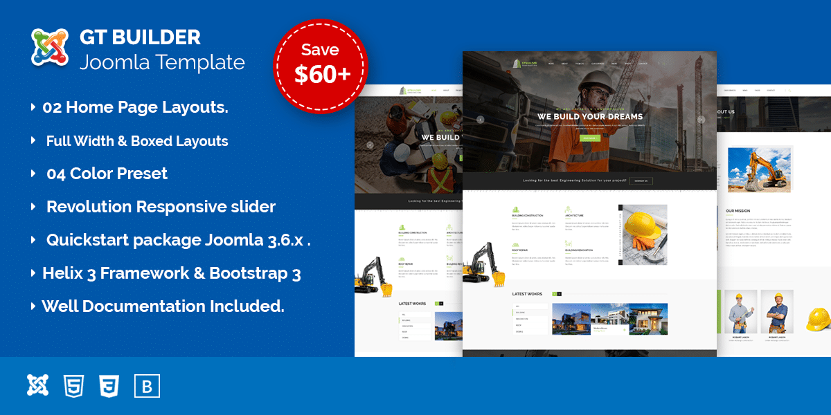 GTBuilder Construction & Building Joomla Template