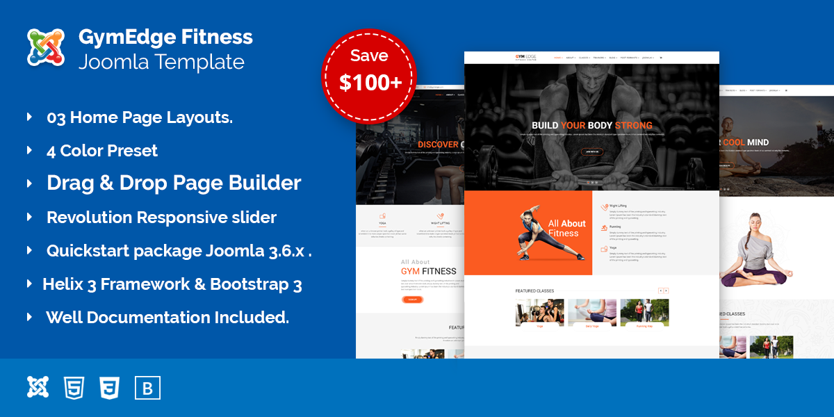 GymEdge – Gym Fitness & Yoga Joomla template