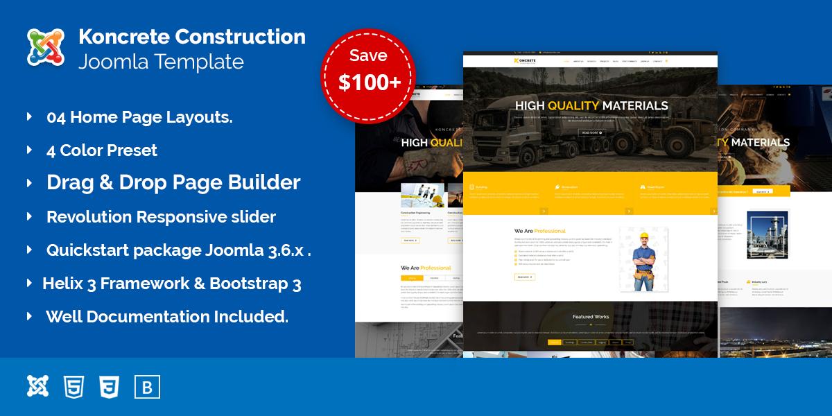 Koncrete – Construction & Building Joomla Template