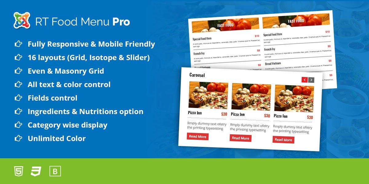 RT Food Menu Pro for Joomla