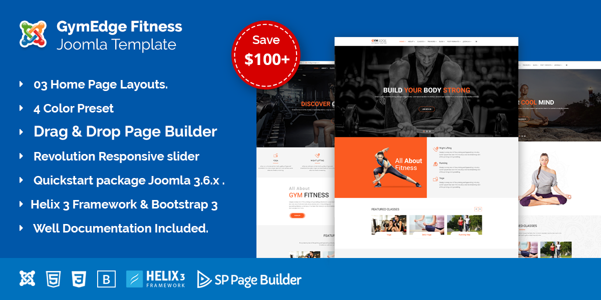GymEdge – Gym Fitness & Yoga Joomla template