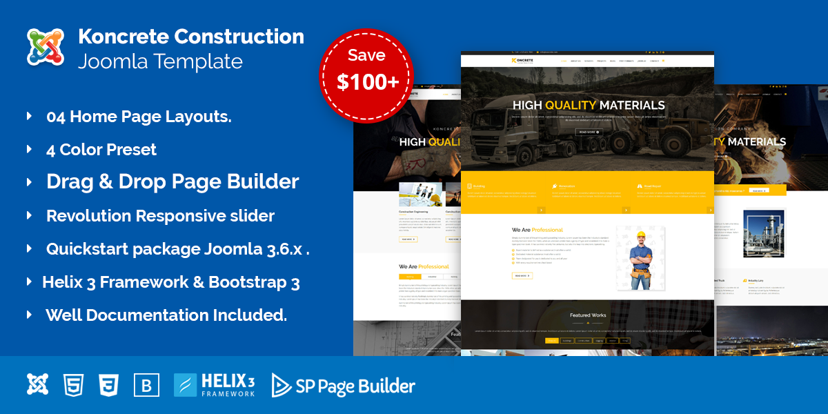 Koncrete – Construction & Building Joomla Template