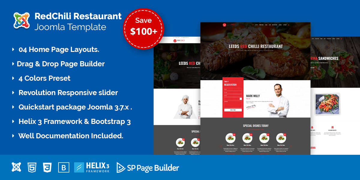 RedChili – Restaurant Joomla Template