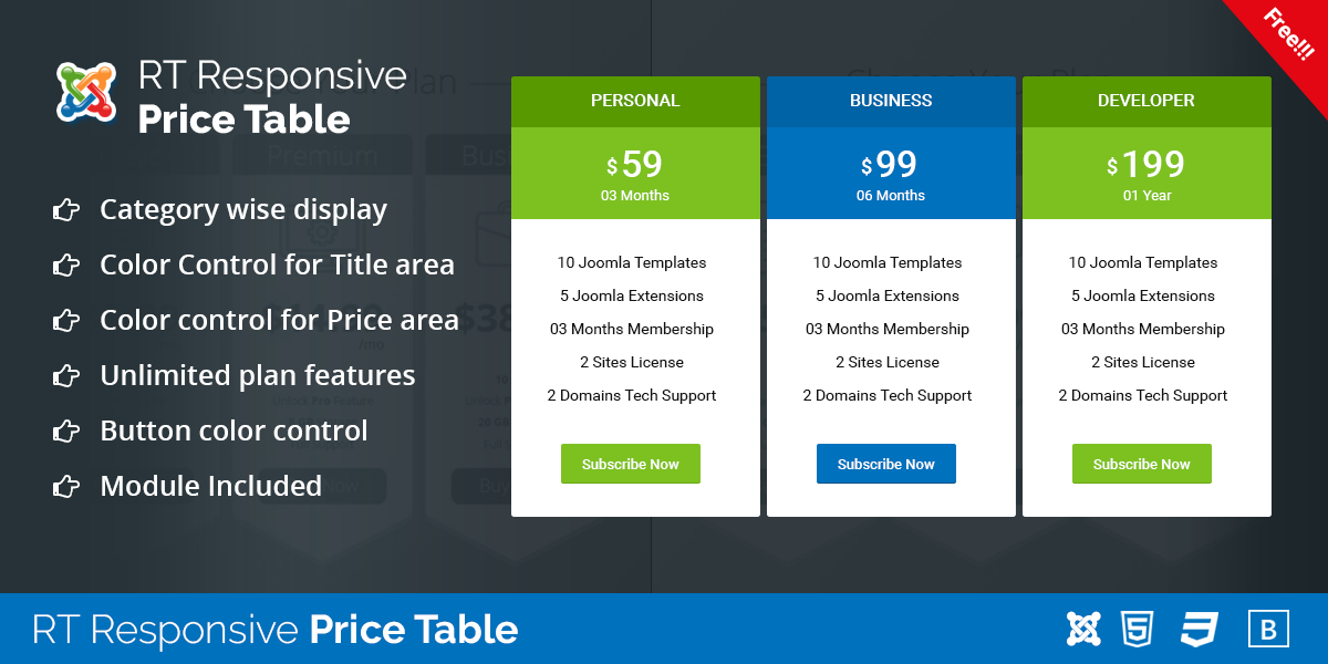 RT Responsive Price Table for Joomla