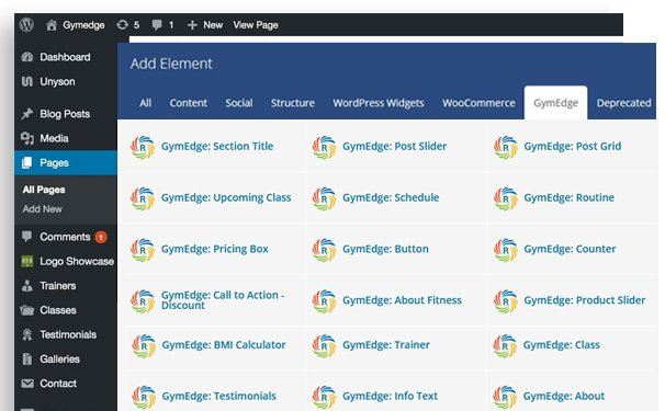 gym edge custom WP Bakery Page Builder addon