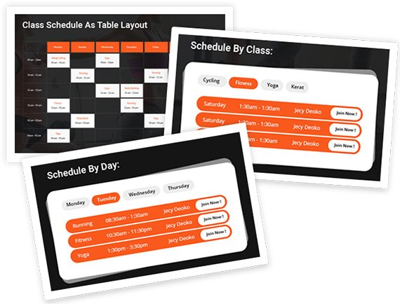 schedule table gym fitness theme