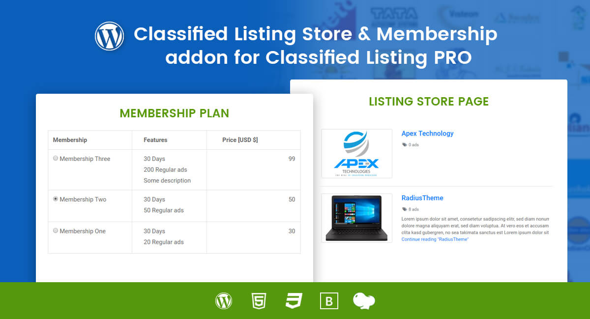 Classified Listing Store & Membership addon for WordPress