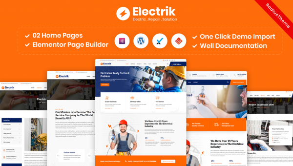 Electrik – Electricity Services WordPress Theme
