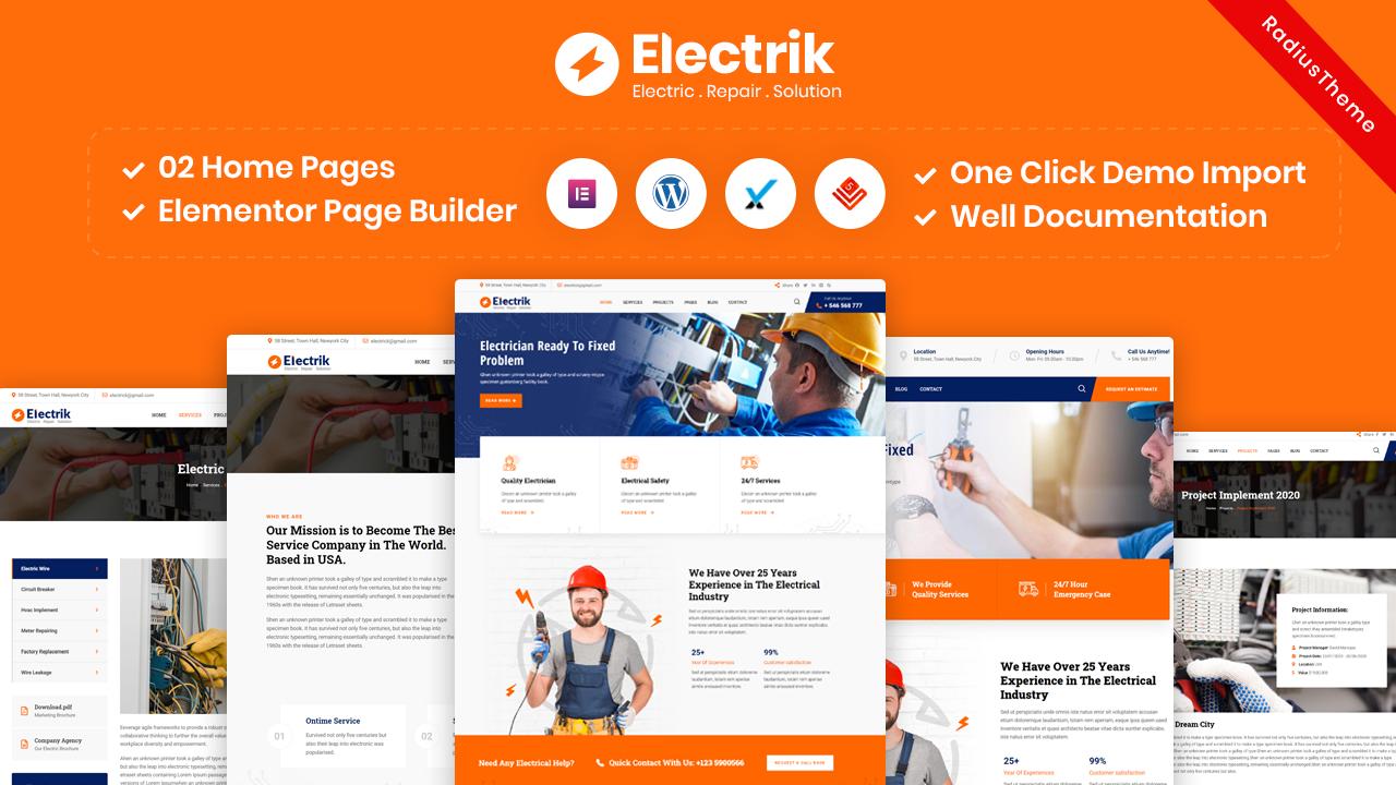 Electrik – Electricity Services WordPress Theme