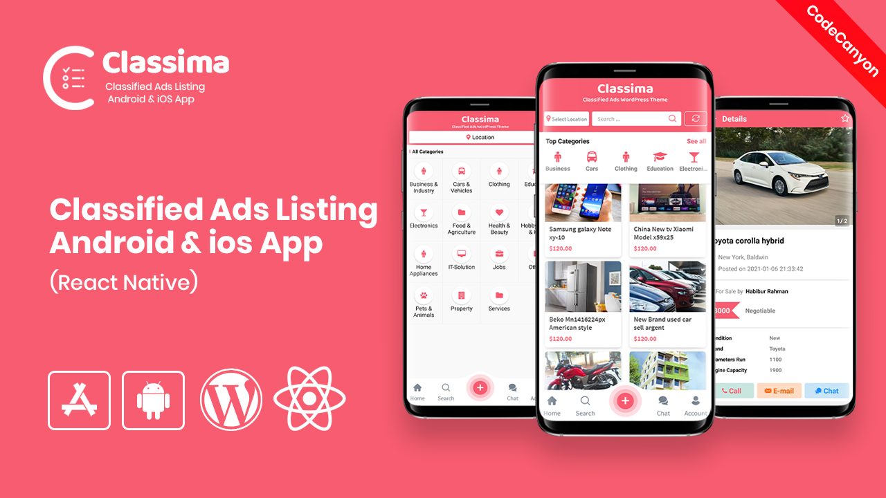 Classima – Classified ads Android & iOS App (codecanyon)